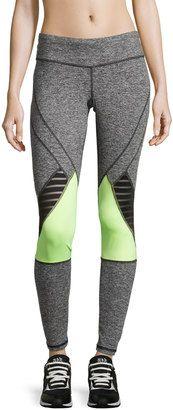 Pink Lotus Mesh-Trim Colorblock Yoga Pants, Gray/Lime - Shop for women's Pants - LIM Pants