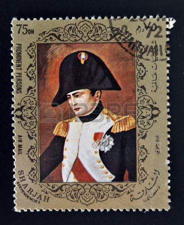 Napoleon Bonaparte, stamp printed in Emirate of Sharjah circa 1972.