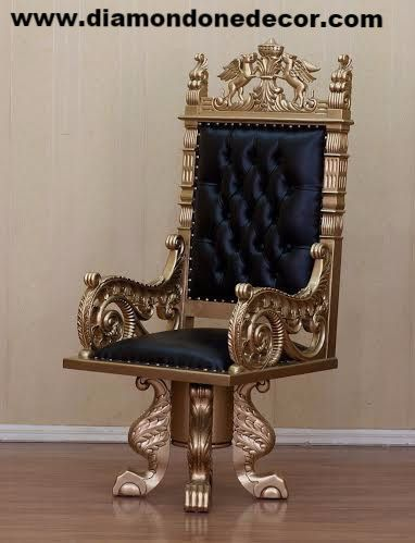 Throne Chair An exquisite mahogany hand carved Louis XV Baroque French Reproduction Throne Chair with gold leaf finish. This King Throne Chair has black tufted leather, intricately carved legs and Gri