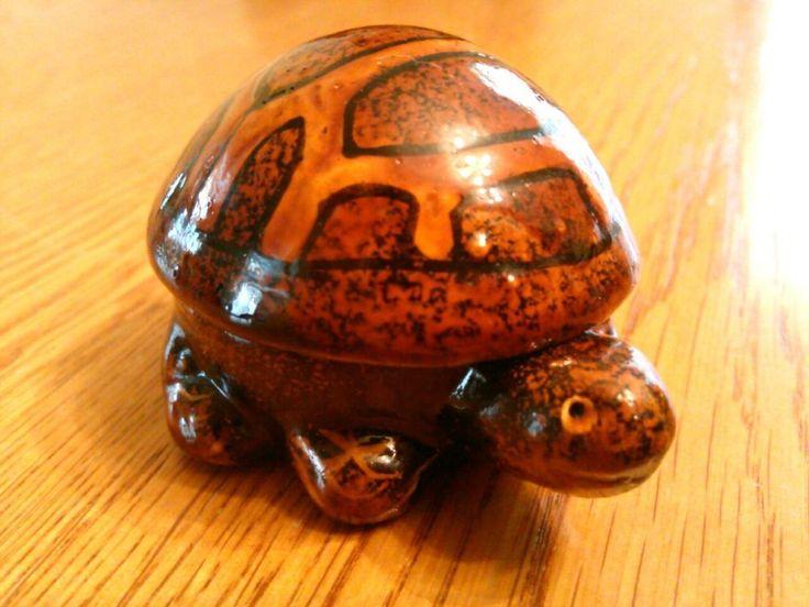 Miniature Handcrafted Turtle Trinket Box, Detailed, Unique, Orange, Brown