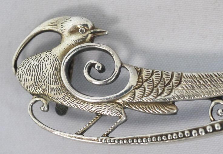 銀製 ヤマドリの帯留め アールデコ 大正時代 の画像|戦前日本のアンティーク〜銀器・ジュエリー・高級磁器〜