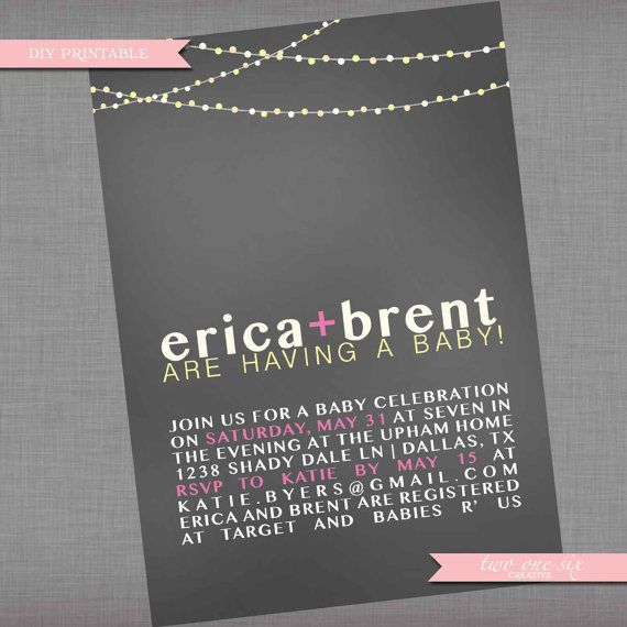 Coed Baby Shower Invitation  Backyard String by TwoOneSixCreative, $14.00