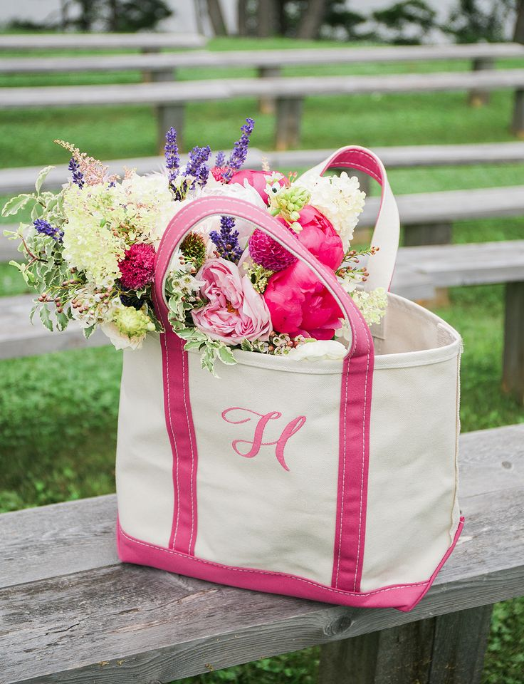 L.L.Bean Boat and Tote Bag and bridal bouquet. (Photo: Meredith Brockington Photography)  Congratulations to newlyweds Justin and Lindsay Hudnor.