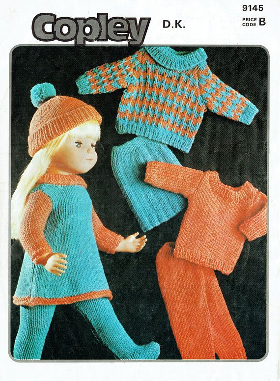 PDF Vintage Doll Clothes Knitting Pattern Teenage Doll Teen
