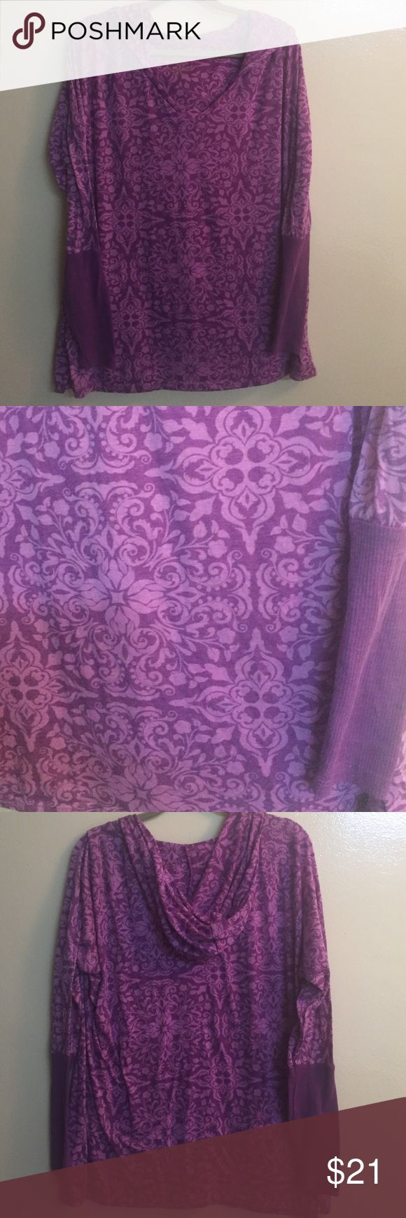 """Balance Collection Purple Women's Yoga Top This is the cutest, softest top of all! It is made of 65% Polyester and 35% Rayon. The design is beautiful, it is lightweight, has a hood and solid 8 """" cuff for easy yoga. It is gorgeous and in perfect condition. You will love it and I guarantee you will have the best Top in yoga class! Balance Collection Tops Sweatshirts & Hoodies"""
