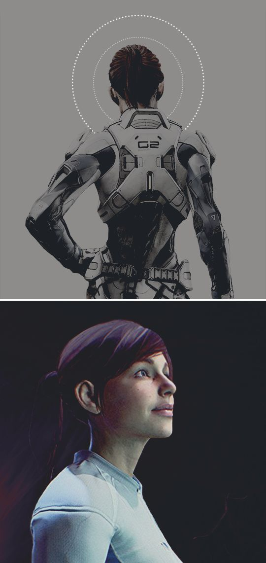 Born on the Citadel space station in 2163. With informal training aided by Alec Ryder's N7 background, Sara joined the Systems Alliance military which was continuing its search for Prothean technology after successful discoveries on Mars. Initially assigned to peacekeeping duties. Sara was approached to serve a support role for these Prothean researchers. She often describes the thrill of serving with scientists like Mateus Silva on the brink of the next great discovery. #mea