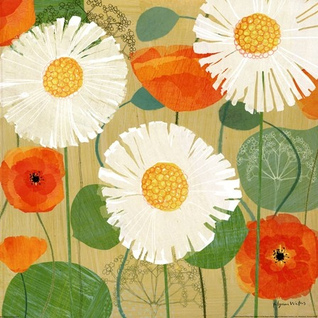 Daisies and Poppies II by Susy Pilgrim Waters art print