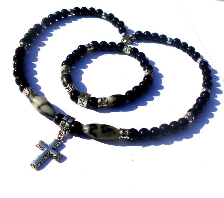 COLLIER Homme en pierres de gemmes ONYX noir, Obsidienne,Hematite et Pendentif Croix en argent