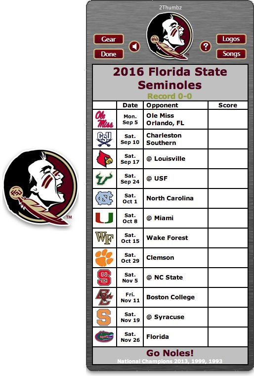 Get your 2016 Florida State Seminoles Football Schedule Mac App for Mac OS X - Go Noles! http://2thumbzmac.com/teamPages/Florida_State_Seminoles.htm