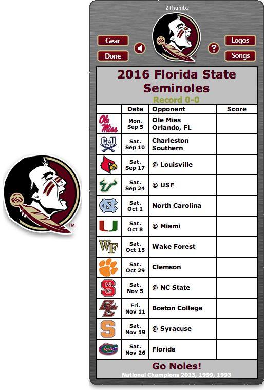 Get your 2016 Florida State Seminoles Football Schedule Mac App for Mac OS X - Go Noles! http://2thumbzmac.com/teamPages/Florida_State_Seminoles.htm