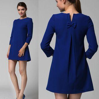 Envío Gratis 2014 nuevas mujeres del otoño y del invierno de la rodilla- longitud de tres cuartos vestido ocasional flojo