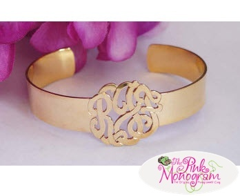 Monogrammed Cut Out Cuff Bracelet from The Pink Monogram