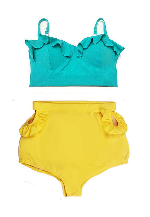 Mint Teal Midkini Top and Yellow Cut Out Cut-out High waisted Shorts Bottom Bikini Swimsuit Swimwear Swim Sailor Bathing Suit Beachwear S M on Etsy, $44.19 CAD