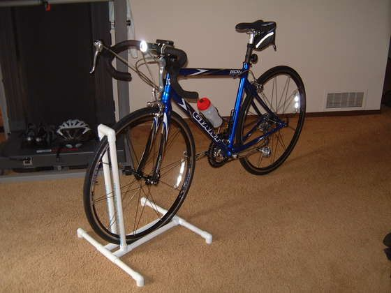 pvc bike rack for the kids to park in the garage!
