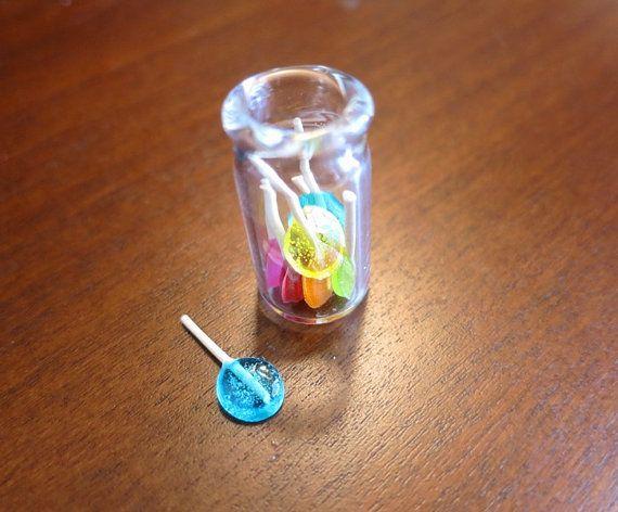 Miniature Lollipop candy in a Glass Jar, Resin Food, Miniature Candy, Colorful Candy, Tiny Lollipop, Mini Jar, Bottle Charm