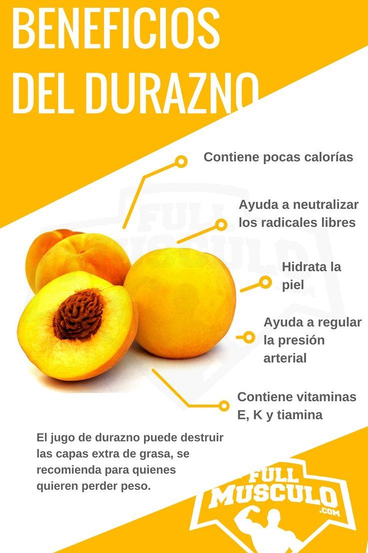 infografia de las propiedades del durazno. Todos los beneficios y propiedades del durazno en una sola imagen. #dieta #nutricion #fitness