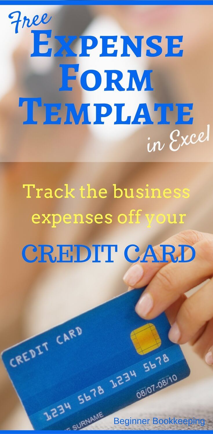 Expense form template in Microsoft Excel for your credit card accounting - track your credit card expenses.