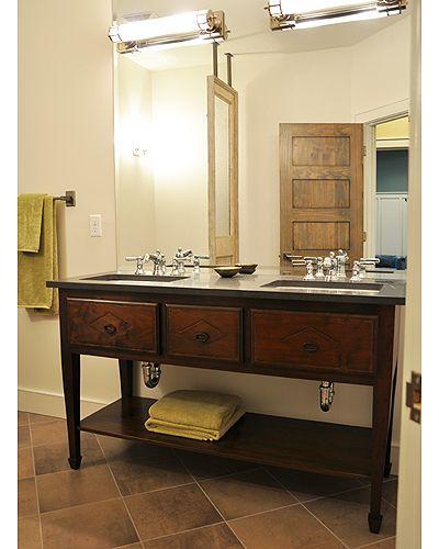 Solid Walnut Double Tuscany Console Sink Base With Kohler Ladena Sinks. |  Bathroom Sink Bases U0026 Vanities | Pinterest | Sinks