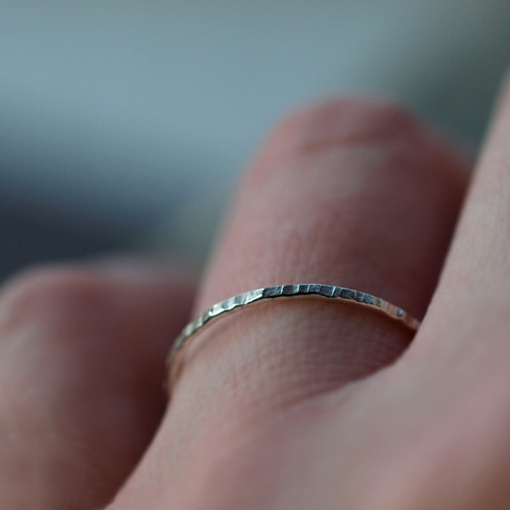 Sterling Silver Stacking Ring with Hammered Band: Silver Stacking, Silver Jewelry Rings, Sapphire Collection, Vintage Princess, Thin Wedding Bands, Sterling Silver, Hammered Bands, Stacking Rings, Rings Hammered