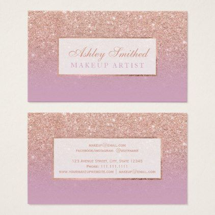 #makeup #artist #makeupartist - #Modern rose gold glitter pink lavender chic makeup business card