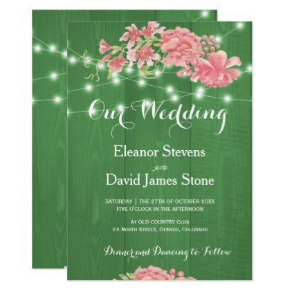 #Rustic spring blush peonies barn wood wedding card - #outdoor #wedding #gifts