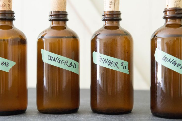 Ginger kombucha, bottled with corks