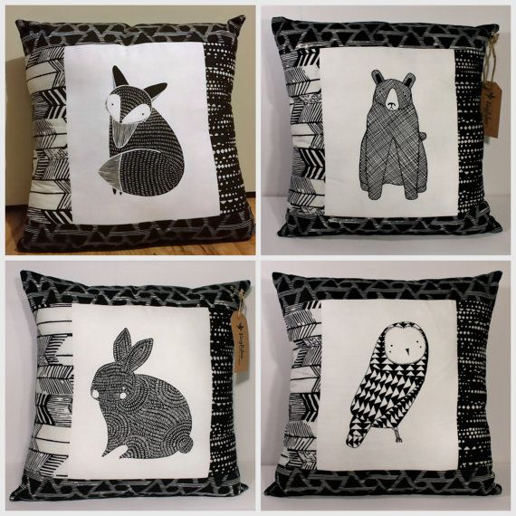 Handmade Modern Pillow Case with Moda Thicket Critters by Gingiber fabric and 'Me and You' batik black and white borders, pillowcase only