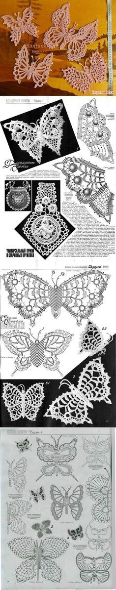 Crochê irlandês padrões de rendas motivos crochet butterflies