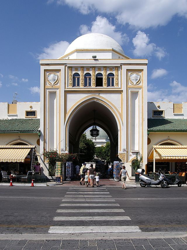 View of the Market (Nea Agora) of Mandraki, built during the Italian period by Florestano Di Fausto.Rhodos city