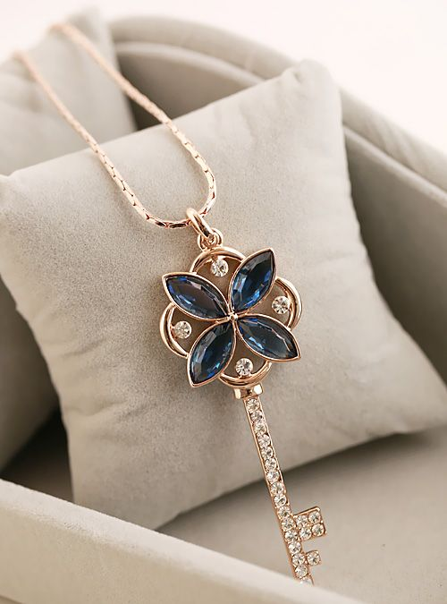 Free shipping Fashion key necklace popular quality k gold necklace $18.53