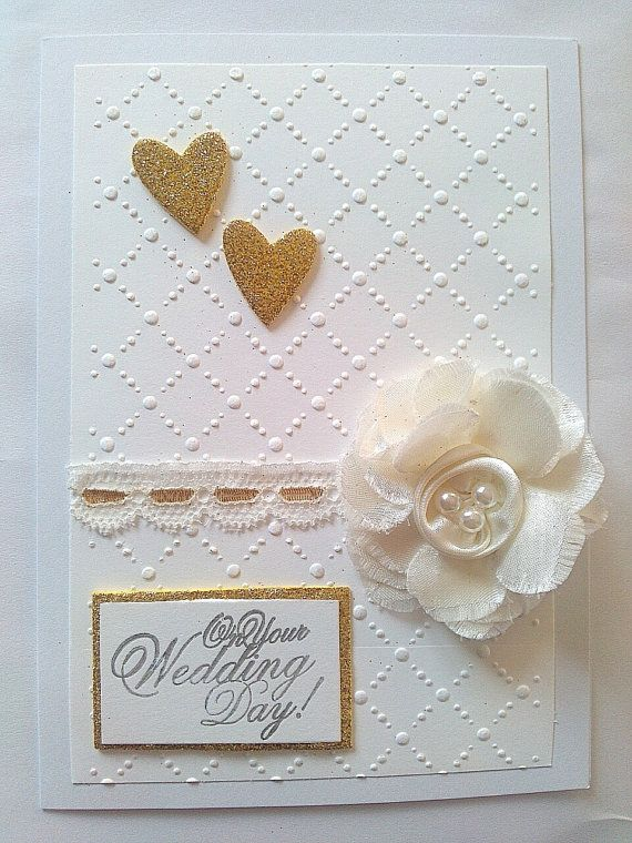 Embossed gold and white On Your Wedding day card by KaisCards, £2.50