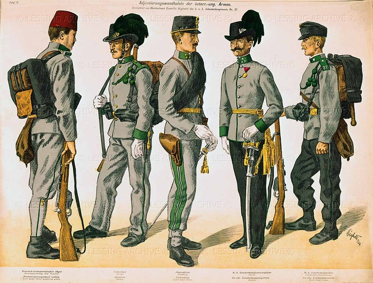 Righetti,Camillo.Five different uniforms of soldiers of the Austro- Hungarian Army at the outbreak of WW I:the colourful uniforms of the 19th century give way to a uniform grey.