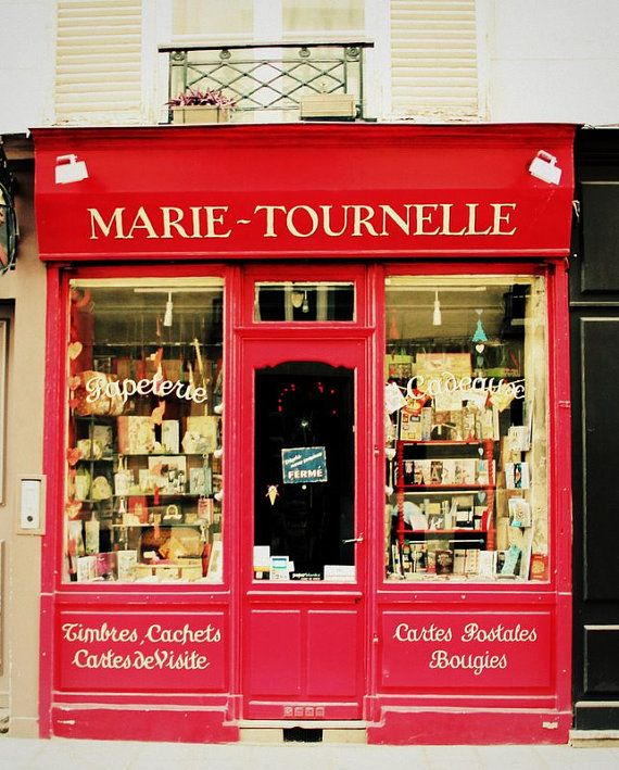 A French Paper Shop with a Wooden Red Storefront in Paris <3