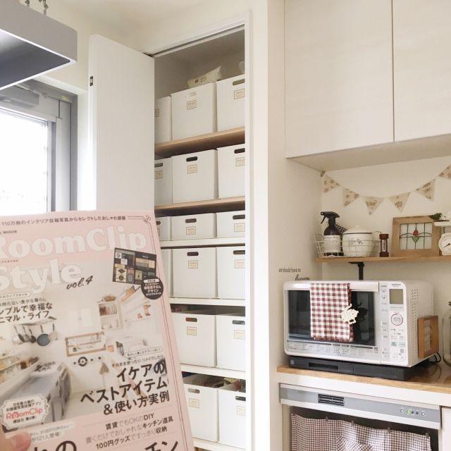 makochi.mさんの、キッチン,白,ニトリ,パントリー,収納棚,自作ラベル,インボックス,パントリー収納,RoomClipStyle vol.4,のお部屋写真