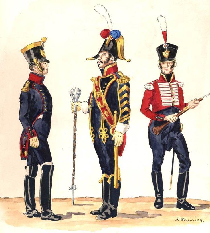 Naples; Foot Artillery, Chef de Batallion, Drum-major & Musician, 1813-15 by H.Boisselier