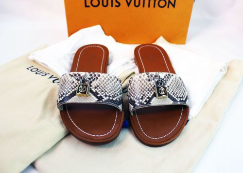 eff8c68d Louis Vuitton LOCK IT FLAT MULE Python Size 38 USA Size 7.5 - READ ...