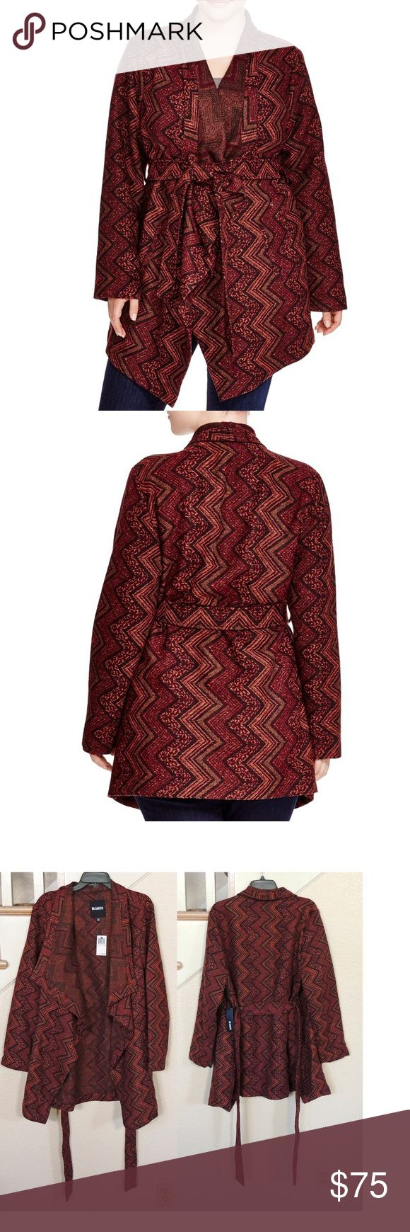 Plus Size Burgundy Chevron Wrap Jacket ** Reasonable Offers Welcome - No Trades**  Size 2x = 18w - 20w - Size 3x 22w - 24w --65% polyester, 32% acrylic, 3% wool - Rust, maroon and black hued chevron printed jacket with oversized collar and tie wrap closure. Equipped with double side pockets and asymmetrical hemline BB Dakota Jackets & Coats