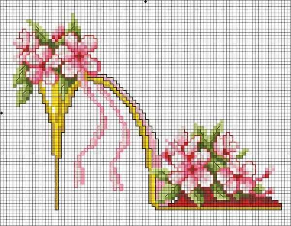 point de croix chaussures, talons aiguilles jaunes avec fleurs roses et lacets - cross-stitch yellow shoes, high heels stilettos with pink flowers and lace