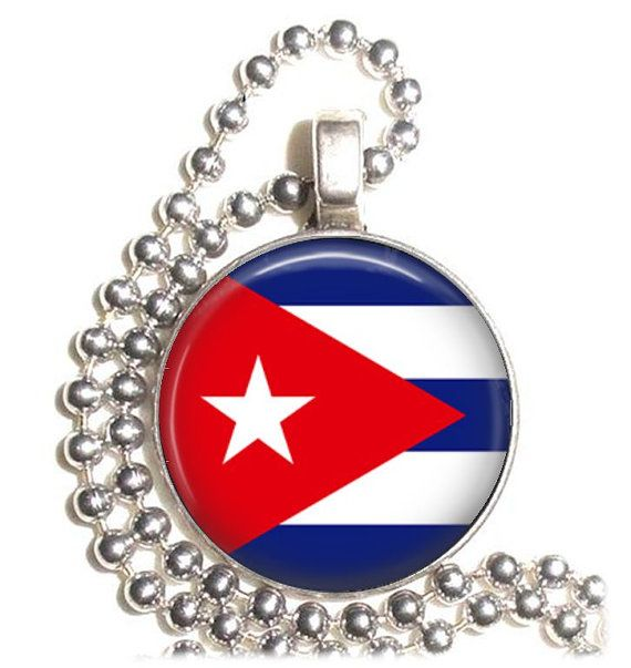 Cuba Flag Altered Art Pendant Earrings and/or by YessiJewels