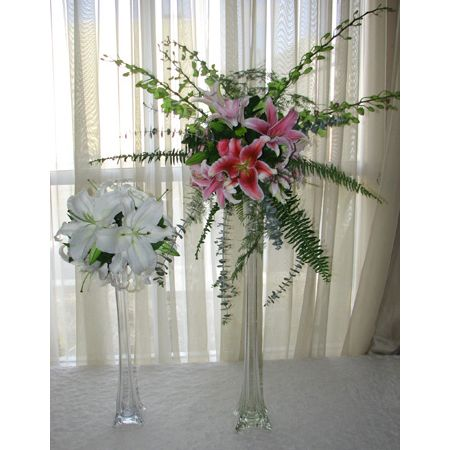 Tall Floral Arrangment With Crytals Eiffel Tower Vase