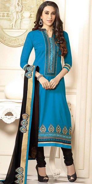 Karishma Kapoor Blue And Black Cotton Salwar Suit With Dupatta.