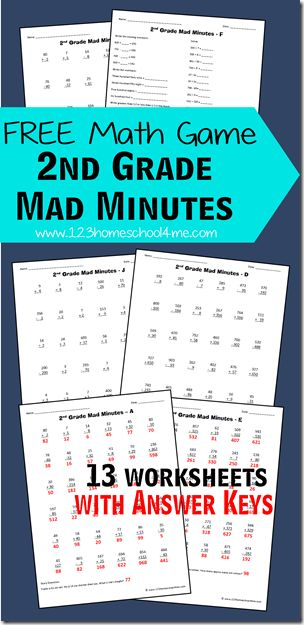 FREE 2nd Grade Mad Minutes is a cool math games that makes practicing math fun . These math worksheets for second grade include answer key; perfect for extra practice for homeschool, home work, christmas break, summer break, and more.