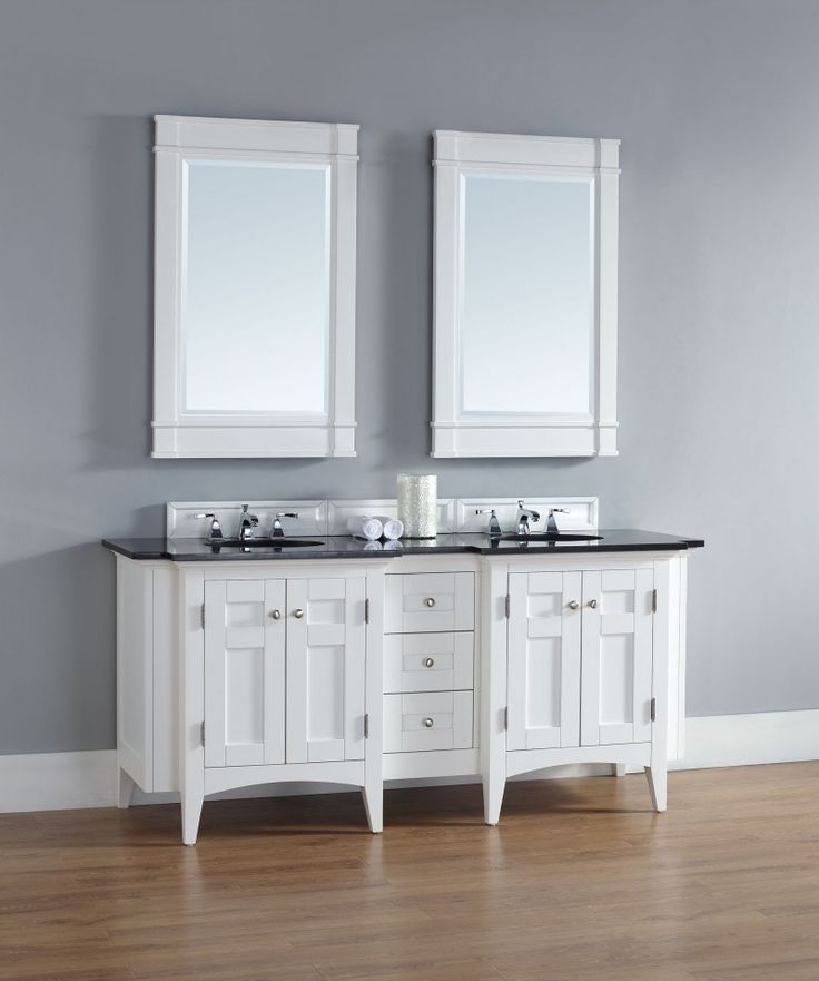 This 72 Inch White Double Sink Bathroom Vanity Features A Unique Transitional Style Http