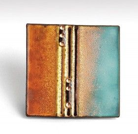 Carol Griffin--sgraffito enameling | High Fired Formed copper Brooch, 40 x 40mm, vitreous enamel on copper