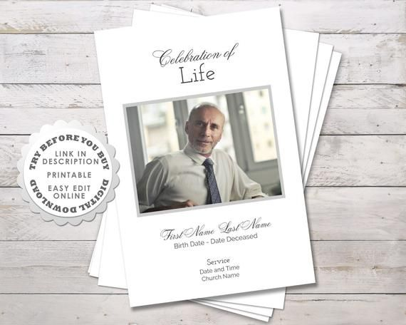 Dad S Funeral Program Template And Order Of Service Modern