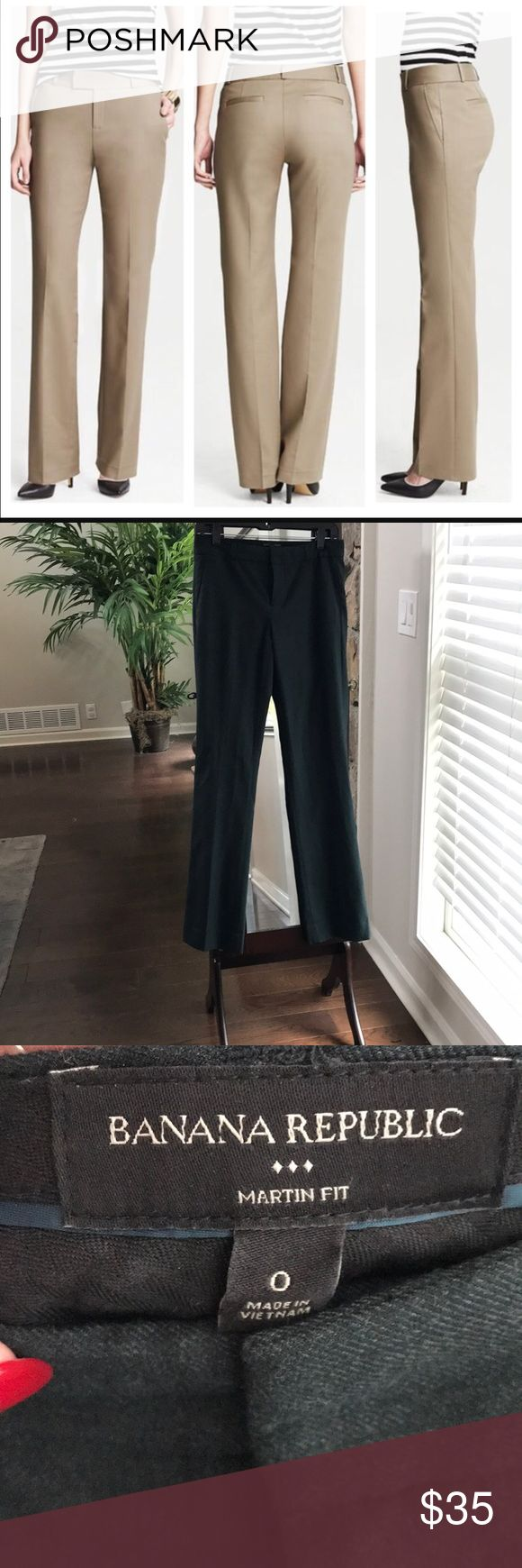 Banana Republic Martin Fit Straight Leg Pants Deep hunter green color. First pic is not the actual color, but I posted to show cut and fit. Only worn 2 times. Great Condition. Drycleaned. Lined. Moving soon, make me an offer! Banana Republic Pants Straight Leg