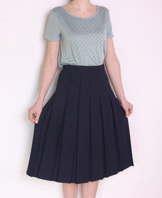 80's flared gefaltete marineblau Midi Skirt, adrette Schülerin lange minimalistischen Rock, eine Linie Rock
