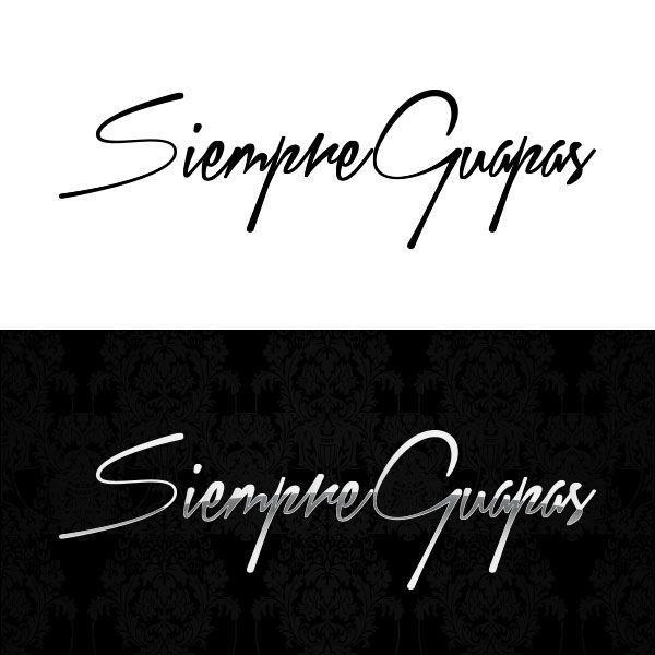 """logotipo de peluquería y centro de estetica """"Siempre Guapas"""" en monocromatico y aplicación original simil cromo y fondo con patrones en tonos negros."""