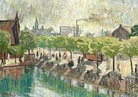 Olaf Rude Promenading figures by the Lakes in Copenhagen, 1910