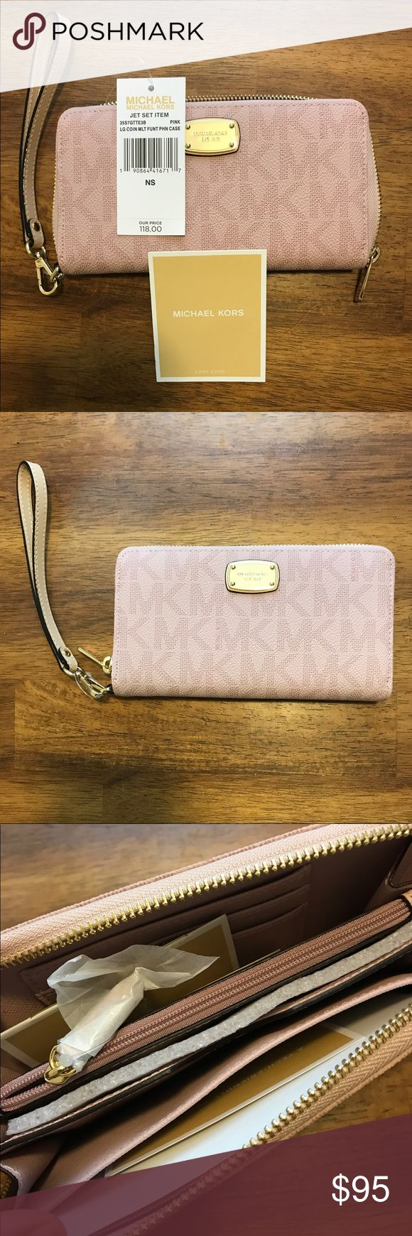 Michael Kors Jet Set Pink Phone Case Wristlet Michael Kors Jet Set Pink Large Coin Multifunction Phone Case Wristlet/Wallet Michael Kors Bags Wallets